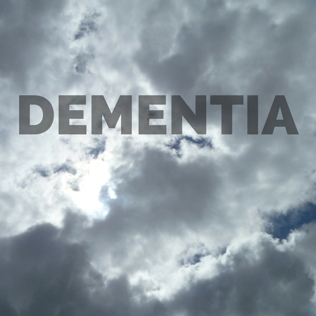 Dementia on cloudy background