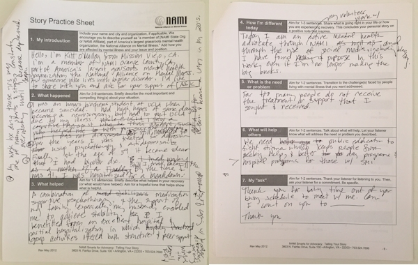 Kitt O'Malley's Story Practice Sheet for NAMI Smarts Advocacy Training. Basically illegible handwriting. I will try to decipher in the text that follows.