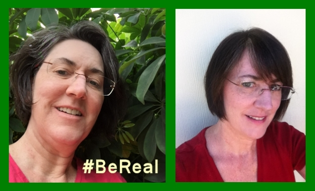 #BeReal Image of me without make-up on left, wrinkles and turkey neck evident. Image of me with make-up and hair blown dry straight on right, no wrinkles or turkey neck in evidence.