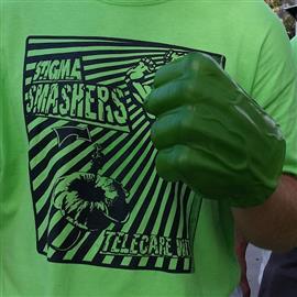 Stigma Smashers on green t-shirt with Hulk fist - smashing stigma