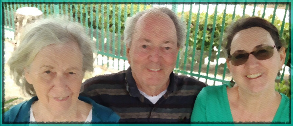My mother, father, & I in watercolor filter