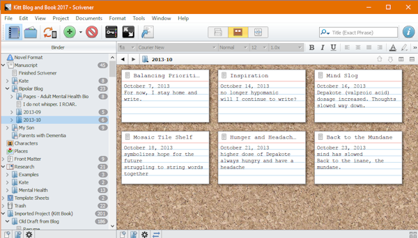 When I first purchase Scrivener, I either copied and pasted or imported my blog posts from September 2013 to October 2014. I don't recall how I got the material into the program. Then I stopped, overwhelmed by the complexity of Scrivener. Now that I did the tutorial, I'm organizing those posts. Feels good. Really good.