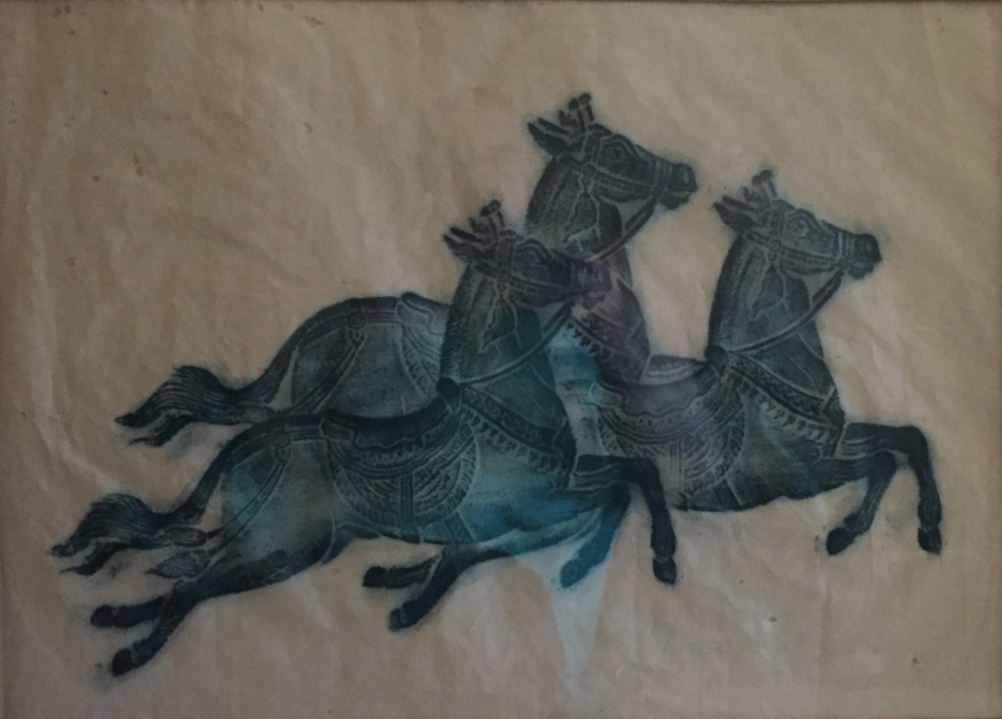 Green-blue rubbing of three Arabian horses