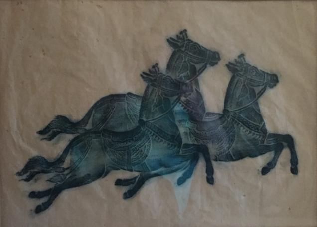 Green-blue rubbing of three Arabian horses