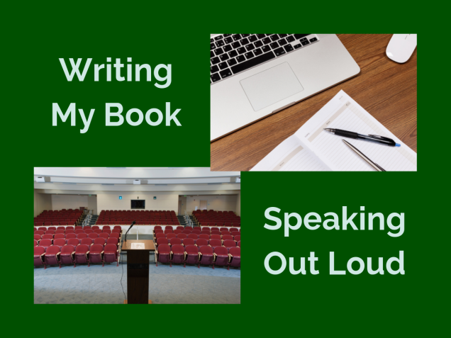 Writing My Book. Speaking Out Loud. Stock images of laptop with notepad and pens and auditorium with podium.